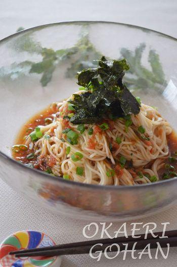 さっぱりとした物が食べたいな…なんて時にもおすすめの、簡単レシピ。海苔の佃煮が入る事で味付けも簡単です。お好みで山葵をプラスして!