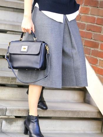 こちらのキュロットスカートは生地も上質で、仕立ても確かなのが魅力的♪品のよさが光りますね。