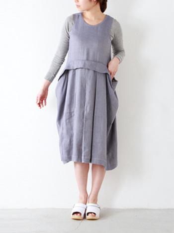 グレーとラベンダー色の組み合わせは鉄板!ランダムなプリーツが、大人を感じさせます。