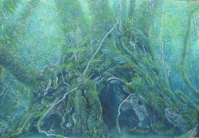 ●水の森  神秘的な雰囲気の絵画。精緻に描かれた森にじっと見入ってしまいます。