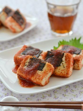 たらこの豊かな風味と海苔の香りが淡白な豆腐に良く合います。丁寧にじっくり作りたい一品ですね。