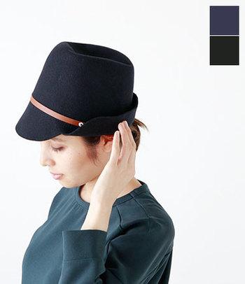帽子の下に髪をまとめるのもかわいい♪おだんごにした髪が崩れにくいのもいいですね。