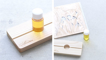 本体の木材には、間伐作業により伐採された木々を使用。オイルは一週間程度で吸収されますが、吸収された香りは、ほのかな香りを持続します。