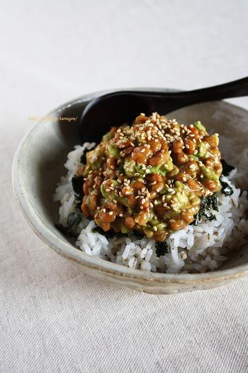 コチュジャンやにんにくで韓国風のユッケ丼。5分で完成する簡単レシピなのに、アボカドと納豆のコクがおいしくて大満足!