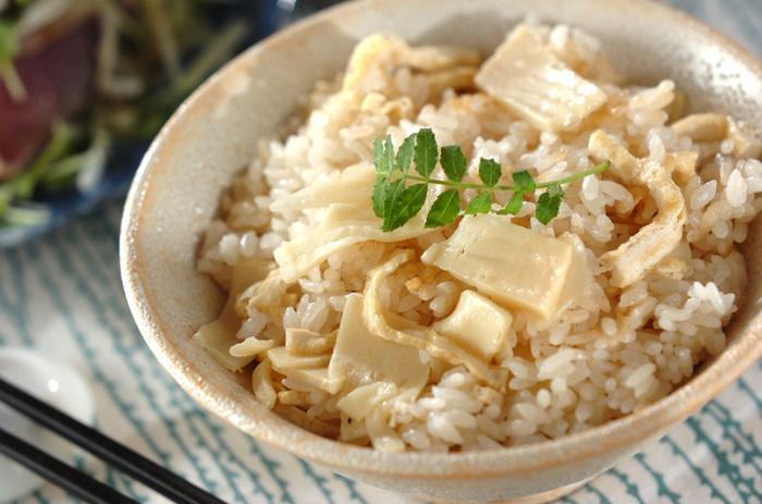 やっぱりたけのこと言えば「たけのこご飯」。シンプルなレシピほど素材の風味が活かされるので、家族やお友達と季節を感じながら、たっぷりいただきましょう。