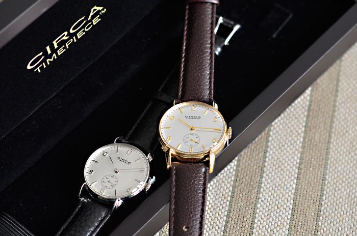 ■CIRCA│レザーベルト×ラウンドケース腕時計  アンティークの腕時計をベースにした、アールデコを思わせるクラシックで気品あるデザイン。 ベルトに本革を使用した上質な腕時計は、デイリーからフォーマルまで、シーンを選ばずに使えます。 優しい印象をプラスしてくれる丸型のケースは、やや大きめですが、女性の手首を華奢に見せてくれますよ。