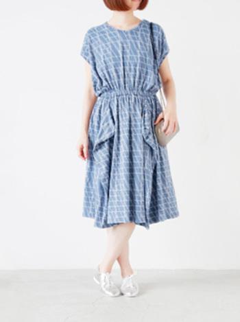プリント柄のレトロなワンピースは、サラッと1枚着るだけできちんと感が出ます。暖かい季節のデートにいかがでしょうか♪
