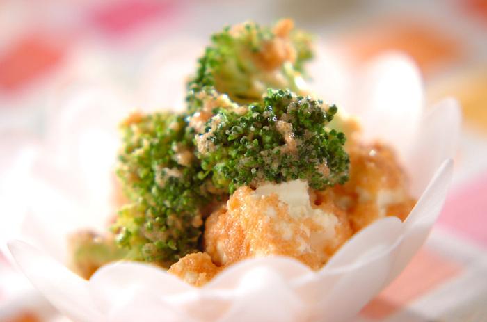明太子とマヨネーズが入った定番の和え物。クリームチーズを加えて、まろやかな風味を楽しんで♪
