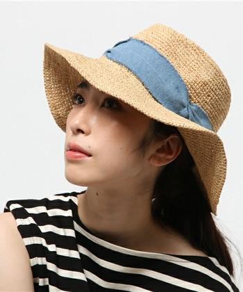 涼しげな麦わら帽子のワンポイントに水色リボンを取り入れて♪ビーチなどのリゾートや、アウトドアでも活躍してくれるでしょう*