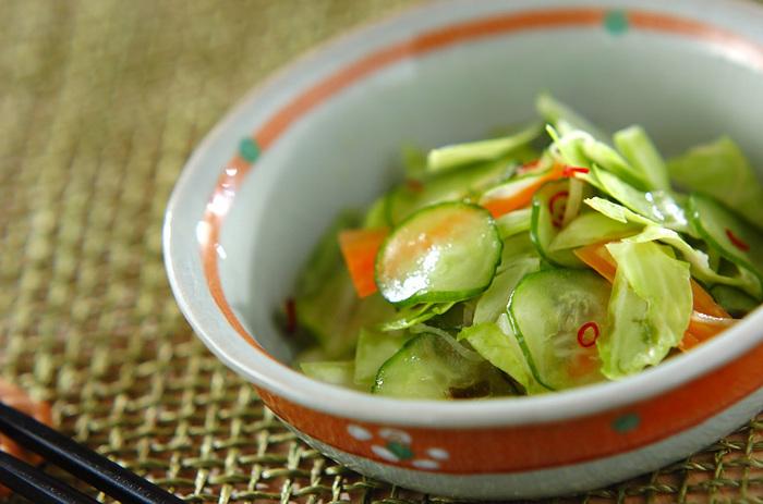 ビニール袋に、調味料もお好みの野菜も全部入れて混ぜるだけ!15~20分ほどしたら味が馴染んで食べごろです。