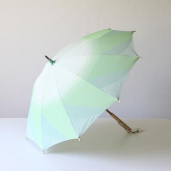傘とは思えないほどの生地の美しさですね!グリーンが爽やか♪