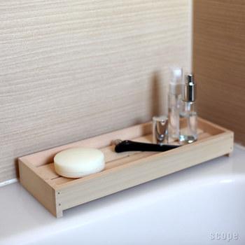 お風呂場の道具としてあったら嬉しい石鹸台もあります。清潔感のあるすっきりとしたフォルムが素敵。