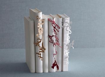 本の背表紙にふわりと垂れ下がる文字が本棚のちょっとしたアクセントに。センスを感じさせるアイテムですね。 【SEE OH! Ribbon(シオリボン)Typo】1,296円(税込)