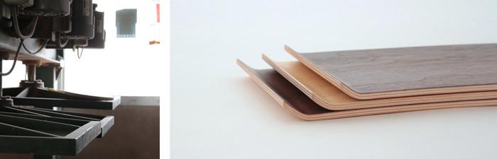 厚さ0.6ミリの薄い板を、数十キロの圧力でプレスしていきます。通常成形合板で使われる木材よりも厚めの板ですが、木の風合いや質感を生かした器が出来上がります。プライウッドならではの、自由な曲線や木目が魅力です。