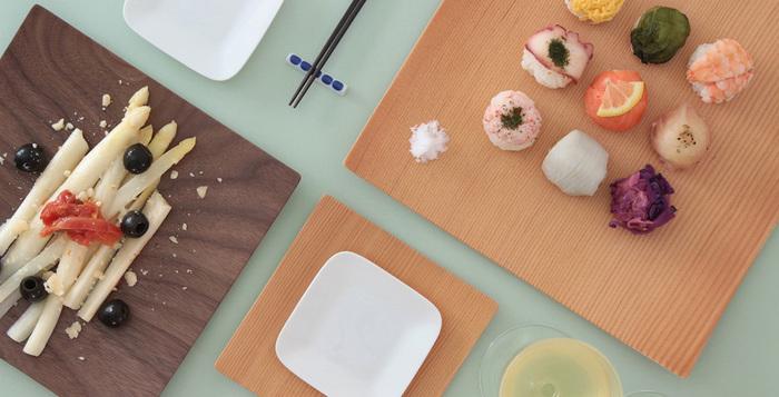 その名のとおり、正方形のお皿。平面のように見えますが、微妙にはじにカーブがついています。こんな小さな配慮も手仕事のなせる技ですね。大きさの違う正方形をテーブルに配置することで、アートのような感覚に。和モダン料理にもぴったり。何を盛り付けるのか考えるのが楽しくなりますね。