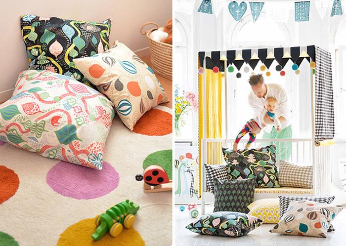 子供部屋にはポップなデザインを。カバーはコットン100%なのでお肌の敏感な赤ちゃんのいるご家庭でも安心です。