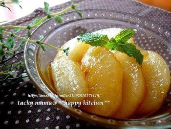 バターのコクと梨の爽やかさがマッチして冷やして食べると美味しいしいコンポート。作り方も簡単ですよ。