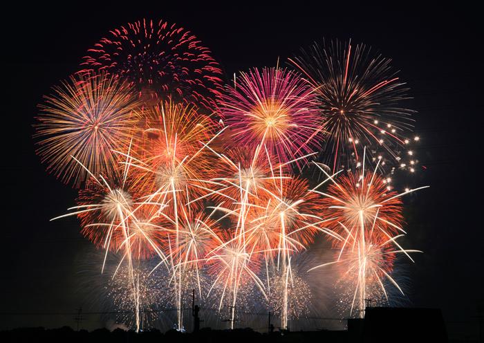 「PL花火大会」の名で親しまれている教祖祭PL花火芸術は、花火の打ち上げ数が多く、関西屈指の規模を誇る花火大会です。色とりどりの花火が一斉に打ち上げられ、大阪府南部の夜を色鮮やかに彩ります。