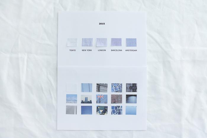 2015年のコレクション「Trip」。左からTOKYO、NEWYORK、LONDON、BARCELONA、AMSTERDAM。生地の下には、イメージの元となった各都市の写真が貼られています