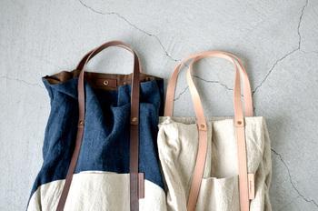 【リネンウォッシュショルダートートバッグ 】  キャンバストートもいいけれど、たまにはリネンのバッグでおでかけしませんか♪くったりとした生地が表情豊かで、レザーの持ち手との相性も◎