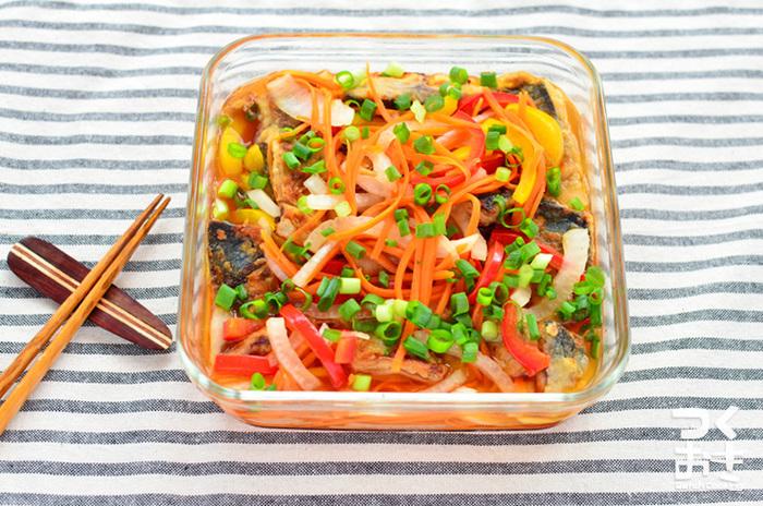 野菜も盛りだくさんのヘルシーな南蛮漬けは、メイン料理にもピッタリです♪