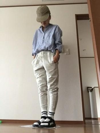 きっちりとしたシャツは、胸元のボタンを開けたり腕まくりをして肌を部分見せすることでこなれ感がでますよ。足元は、靴下×サンダルにすればトレンド感もプラス!今年らしいスタイルの完成です。