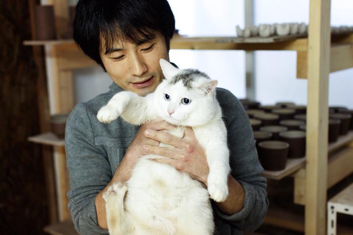 愛猫・おタンちゃんと一緒に