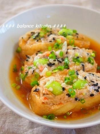 ジューシーお揚げとふわふわ食感が大人も子供も大好き! 豆腐の水切りとひじきの戻しの手間を省いた絶品おかずです。