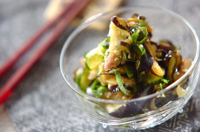 定番だけどおさえておきたいナスときゅうりの塩もみ。さらにみょうがも加えれば夏野菜の箸休めとして、暑い夏の食卓を涼しく彩ってくれそう。