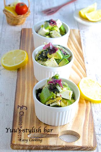 切って和えるだけの簡単サラダ。ヘルシーな食材ばかりで女子ウケしそう♡