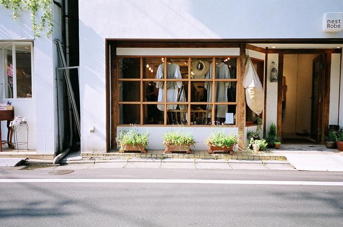 こちらはナチュラル系ブランド「ネストローブ」の自由が丘店。木のぬくもりを感じる、やわらかな雰囲気のお店です。