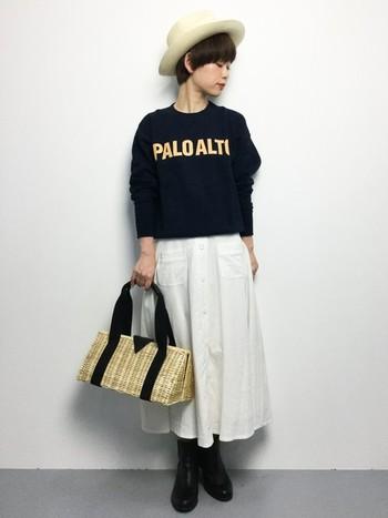 ヘアスタイルがよく見えるようにハットを上向きにかぶると、キュートな印象になります♪パナマハットとラタンバッグという編み素材のアイテムが、バランスの良さを出していますね。