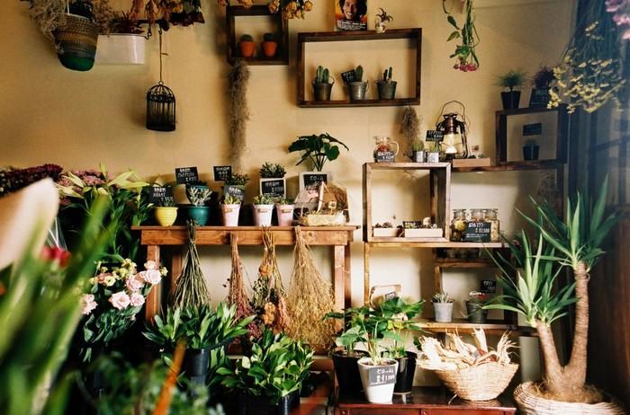 生花をはじめ、ドライフラワーや多肉植物など、様々なグリーンアイテムがそろいます。