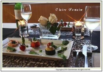 ワインで楽しむ、七夕のイタリアンディナー♪  ・ズッキーニポテト ・スモークサーモンの柚子こしょうクリチロール ・天然海老とブラックオリーブの生レモンハーブソルト添え ・いんげんの鮭リエット添え ・緑たっぷりジェノベーゼ スパゲッティーニ