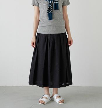 ここ数年、夏は完売してしまうほど爆発的人気カラーホワイト。さわやかな印象のホワイトは、1足は持っていたいですよね! ふんわりロングスカートなどで素足に合わせて履けば、女性らしい着こなしもできちゃいます♡