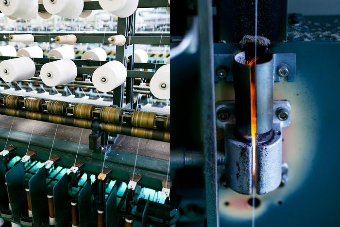 滋賀の工場で作られるのは主に綿糸。 紡績工場から送られてきた単糸と呼ばれる細い糸を合糸して、チーズと呼ばれる糸玉に巻き、撚糸します(写真左)。糸をねじることで、太さと強度を出していき、炎の中で毛羽を焼いて表面を整える。これをガス焼きといいます(写真右)