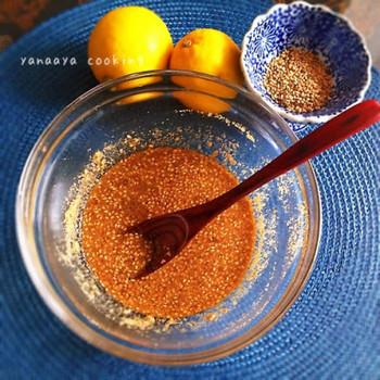 こちらはレモンを加えたごまだれです。レモン汁と酢を同量加えて、いりごま、すりごま、ねりごまを合わせて。辛子ともよく合うそうですよ。