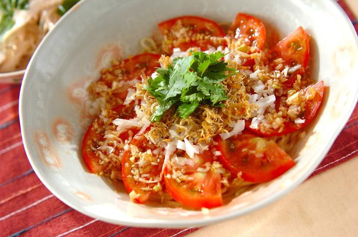 夏野菜・トマトは、冷やし中華の具材としても大人気。こちらはごま油でカリカリになるまで炒めたチリメンジャコをトッピングした、トマトメインの冷やし中華です。みじん切りにした玉ねぎや香菜も加えて、野菜も旨味もたっぷりの冷やし中華です。