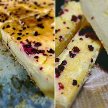 ベイクドチーズケーキに、フルーツソルトのフランボワーズを。コクのあるチーズケーキに爽やかさがプラスされて、新しいおいしさに進化しそうですね。
