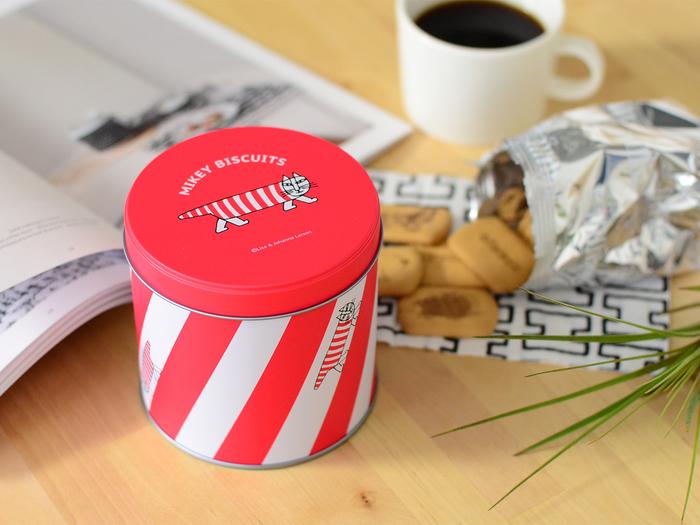 ●缶入り  赤と白のシマシマ模様。マイキー柄の元気な缶です。