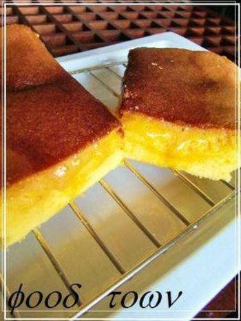 こちらはブランデーを使っているレシピです。ブランデーを少し加えると、ほのかに香って美味しいですよね。四角型で作ると、カステラっぽくなるので、食べてから半熟だと分かると楽しいですね。
