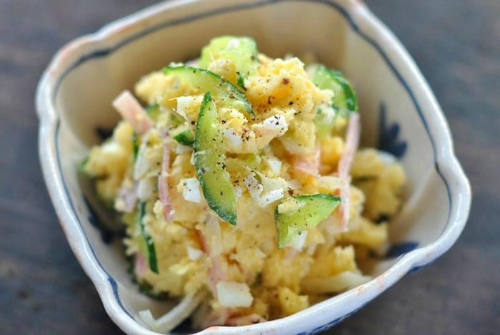 ちょっと時間があるときは、ポテトサラダもお弁当の一角におすすめ。子供から大人まで愛される料理のひとつですね。