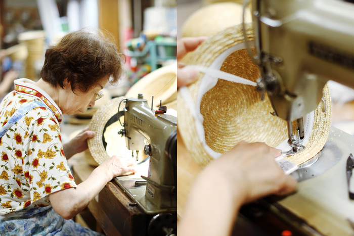 形が完成すると、今度は実用面で大切な作業。内側の汗止めやサイズ調整のテープなどをミシンで取り付けていきます。直接肌に触れる部分なので、細心の注意をはらって作業を進めていきます