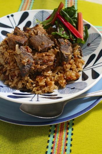 まぐろの切り落とし部分を使ったビリヤニ。子どもでも食べられる味なので、家族みんなでおいしく食べられて、家計にも優しい一品です。