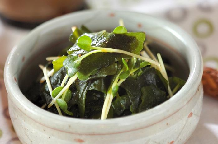 カイワレと豆板醤の辛味がピリリと効いた大人味の一品。おつまみや箸休めにもよさそうです。