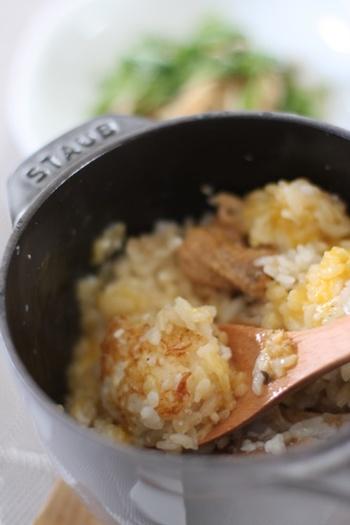 炊飯のお楽しみといえばおこげですよね。もちろんラ・ココット de GOHANでも作れます。香ばしい香りが立ち込めて、食欲がそそられます♪