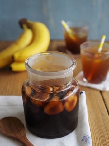 女性に多い悩みに効果的なバナナと、コクのある黒糖を使ったヘルシーなフルーツビネガーです。スイーツのソースにしても◎