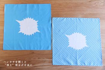 「Handkerchie-fuji(ハンカチフジ)」は広げるとこんなデザイン。中央が富士山の山頂になっており、山型にくしゅっと畳むと可愛らしい富士山が完成します♪