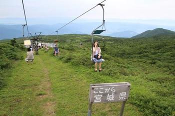刈田方面からリフトで登ることもできます。景色を楽しめていいかも。