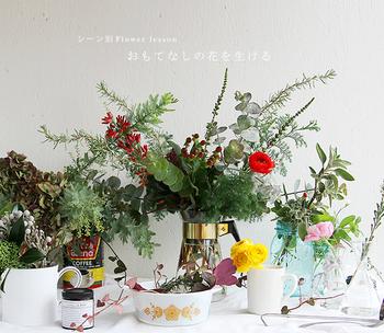 近にあるうつわを使えば、花瓶いらず。普段使いで愛着のあるうつわはお部屋に良くなじみます。